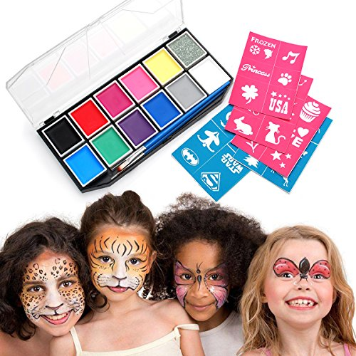 nkset, Schminkpalette mit 11 Sicher und Gesund Farben, 1 Glitzer, 3 Pinsel , Schminkasten Profischmink für Kinder Körperfarben Halloween Karneval Make-up Bodypainting Facepainting (Halloween-ideen Treffen)