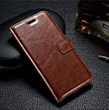 HOM Wallet Book Design Phone Case with Flip Cover and Credit Card Slot, Magnetic Closure, Stand View Case for Motorola Moto E3 Power - Brown Colour