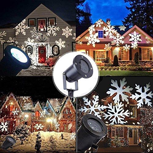 Proiettore Fiocchi di Neve, Luci Natale LED Proiettore Impermeabile Faretti Esterno Decorazione della parete per Natale, Matrimonio Compleanno Discoteca Festa