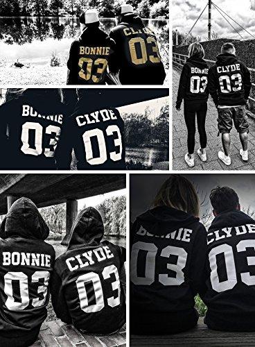 Sweat à capuche pour couple | Bonnie and Clyde | homme et femme | amour love | avec impression dans le dos | numéro sur demande Gris - Damen | Grau / Schwarz