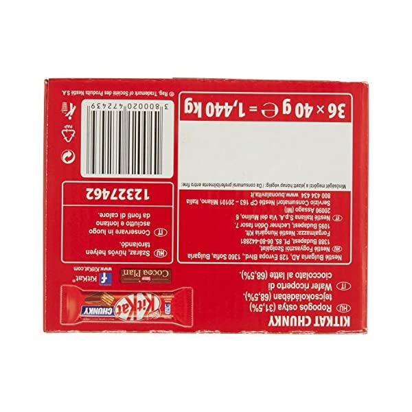 KitKat Nestlé Chunky Wafer Croccante Ricoperto di Cioccolato al Latte, 36 Snack da 40 g 5 spesavip