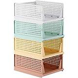 RMAN® Lot de 4 Organiseurs de tiroirs,Rangement de Vêtements en Plastique,Boîtes de Rangement Haute Qualite Armoire Empilable