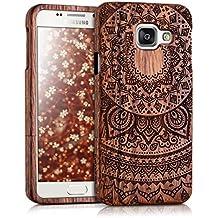 kwmobile Coque en bois véritable avec Design soleil indien pour Samsung Galaxy A3 (2016) en bois de rose brun foncé