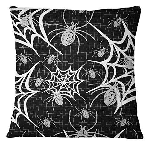 Timingila Schwarz Satin Kissenbezug Geometrisch, Web & Spider Dekorative Werfen Square Kissenbezug Sofa Kissenbezug 1 Stck - 16 x 16 Zoll - Web-xvi