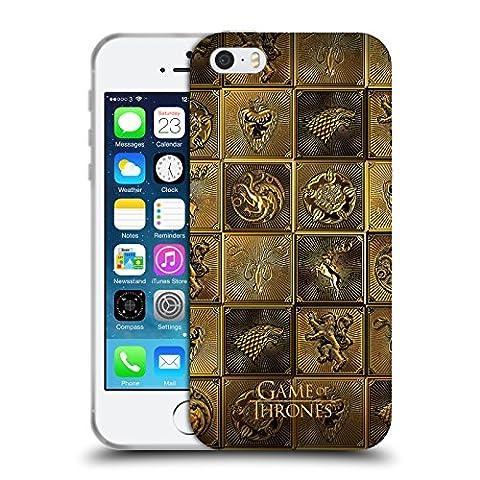 Officiel HBO Game Of Thrones Toutes Les Maisons Symboles D'or Étui Coque en Gel molle pour Apple iPhone 5 / 5s /