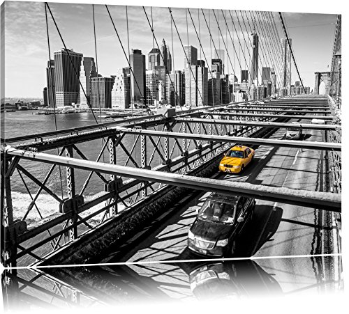 Gelbes Taxi in New York auf Brücke Format: 80x60 auf Leinwand, XXL riesige Bilder fertig gerahmt mit Keilrahmen, Kunstdruck auf Wandbild mit Rahmen, günstiger als Gemälde oder Ölbild, kein Poster oder Plakat