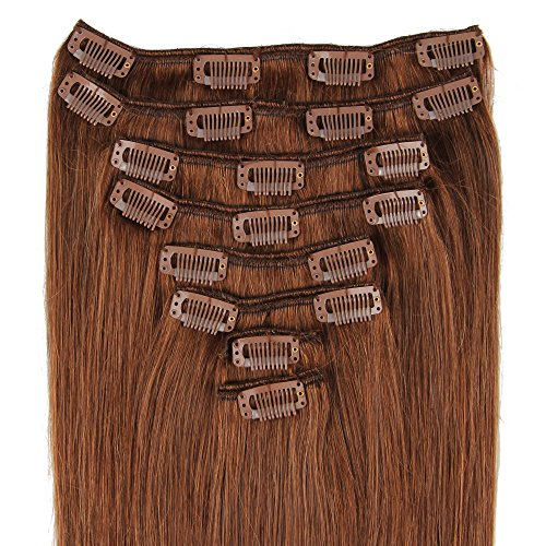 Beauty7 120g Extensions de Cheveux Humains à Clip 100% Remy Hair 6# Couleur Medium Brown Longueur 60 cm