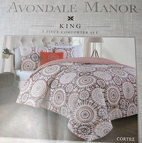 Avondale (Manor 5Stück Cortez Tröster Set, Polyester-Mischgewebe, korallenrot, King Size