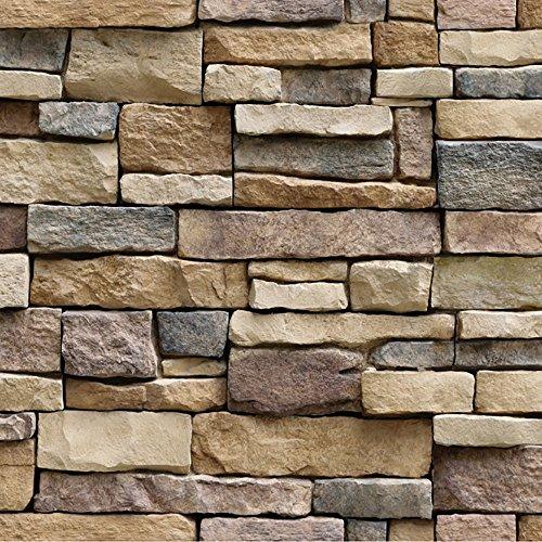 Kingwo-sticker Mur de Briques de Simulation Papier Peint 3D maçonnerie Effet Rustique Autocollants Muraux Autocollants Décoration de la Maison (Multicolor)