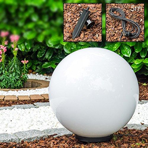 Leuchtkugel Garten mit 50cm Durchmesser - Kugelleuchte - Kugellampe Garten mit 5 Meter Zuleitung - Kugelleuchten außen in Weiß - Wetterfest mit E27 Fassung