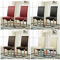 Set de 2 sillas de comedor (piel sintética, respaldo alto de desplazamiento parte superior para el hogar y comercial restaurantes (Rojo) (D