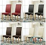 Set de 2 sillas de comedor (piel sintética, respaldo alto de desplazamiento parte superior para el...