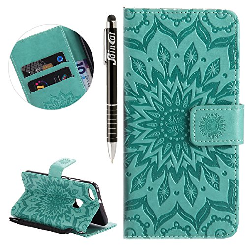 SainCat Ledertasche Brieftasche im BookStyle PU Leder Hülle Wallet Case Folio Schutzhülle Bumper Handytasche Flip Cover Etui Case für Huawei P10 Lite (Grün) - Lite-source-grün