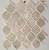 Mosaik Fliesen 30 x 30 cm Marmorfliese weiß grau beige viktorianische Seidenküche Badezimmer wand 8mm 021 (1 Blatt)