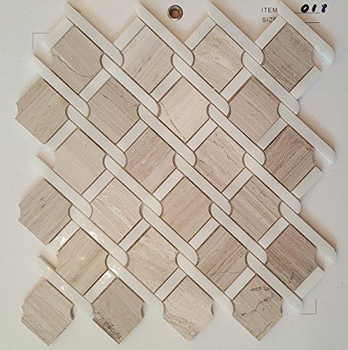 Mosaik Fliesen 30 x 30 cm Marmorfliese weiß grau beige viktorianische Seidenküche Badezimmer wand 8mm 021 (11 Blatter) -