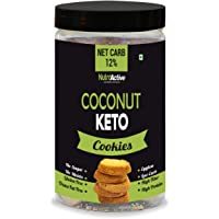 NutroActive Keto Coconut Cookies, 0.5g Net Carb Per Cookie, Zero Sugar, Gluten Free Snacks - 250 gm