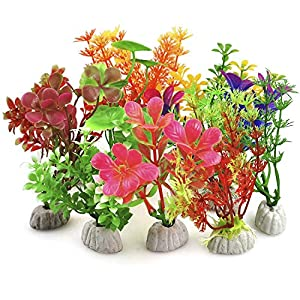 DIGIFLEX 10PC Aquarium Fish Tank Plants – Artificial Aquarium Ornaments – Assorted Sizes, Colours & Shapes