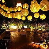 Qedertek Solar Lichterkette Lampion Außen 6 Meter 30 LED Laternen 2 Lichtarten Modi Wasserdicht mit Lichtsensor Beleuchtung Deko für Garten, Terrasse, Hof, Weihnachten, Hochzeit, Party, Fest (Warmweiß)