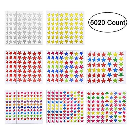 MELLIEX 5020 Zählen Stern Aufkleber Belohnung Selbstklebend Aufkleber Sterne Sticker, 120 Blatt