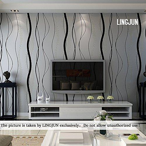 Modern Minimalist Non Woven Water Plant Pattern 3D Flocking Embossed  Wallpaper Roll Living Room Bedroom Black Grey Part 76