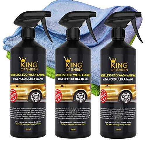 King of Sheen Auto Cleaner und Wachspolierspray, wasserfrei, mit fortschrittlicher Nano-Technologie und Carnaubawachs für unschlagbaren Schutz und dauerhaften Glanz, 3x500 ml, mit 2 Mikrofasertüchern