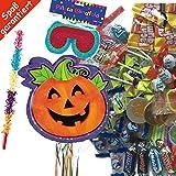Pinata Set: * KÜRBIS * mit + Maske + Schläger + 100-teiliger Süßigkeiten-Füllung No.1 von Carpeta© // Handgefertigte spanische Pinata. Tolles Spiel für Kindergeburtstag oder Mottoparty