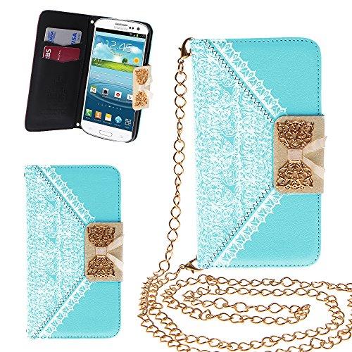 Xtra-Funky Esclusivo PU cuoio del modello del merletto e fiocco dorato di vibrazione di caso della copertura della borsa con la carta di credito e denaro slot e staccabile Catenina d'oro per Samsung Galaxy S3 Mini (i8190) - Blu