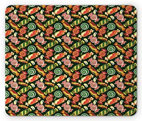 Drempad Gaming Mauspads, Dessert Mouse Pad, Hand Drawn Colorful Candy Pattern Swirls and Dots Design on Green Toned Backdrop, Standard Size Rectangle Non-Slip Rubber Mousepad, Multicolor -
