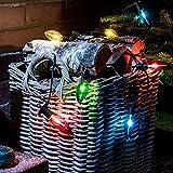 10er LED Weihnachts Birnen Lichterkette bunt 9,5m schwarzes Kabel Lights4fun