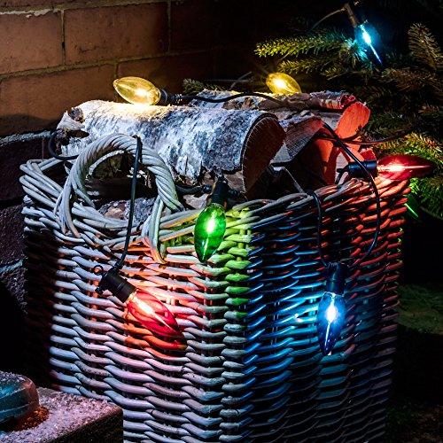 Catena di luci natalizie con lampadine led multicolore a candela per interni ed esterni
