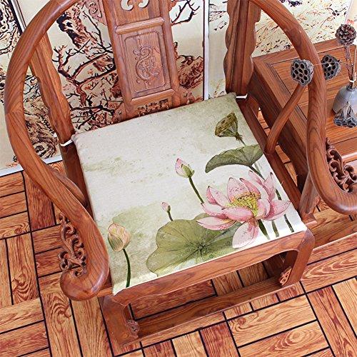 Mahagoni Outdoor-sofa (DENG&JQ Tuschemalerei Lotus Neue Chinesische Stuhl-pad,Retro Mahagoni Sofa Dämpfung Speisesaal Stuhl Kissen Dick Schwamm Kissen 4cm Dick-j 45x40cm(18x16inch))