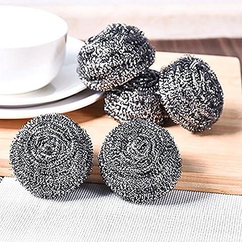 asentechuk® 4pcs/pack una mayor resistencia a la corrosión alambre de acero inoxidable plato estropajo limpieza bola Pot Pan Bowl limpieza cepillo Cocina limpieza