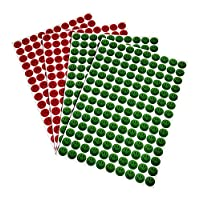 Pack Of 4 10mm Red Sad Green Happy Stickers Two Of Each - PVC FREE VINYL STICKERS