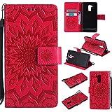 (Sleeping Bear) Coque/Etui Housse Pour Huawei Ascend Honor 5C, Exquise Elégant Totem de Tournesol le Motif en Relief PU Etui en Cuir, [Avec cordon Strap/Corde] Carte de Crédit /Comptant Slots Holder Wallet Ultra Slim Flip de Téléphone étui /Case Cover + Stylus.---Rouge
