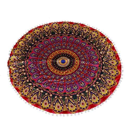 Ammazona Large Mandala Floor Pillows Round Bohemian Meditation Cushion Cover Ottoman Pouf
