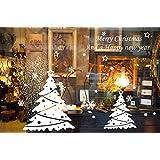 ufengke Feliz Navidad Feliz Año Nuevo Árbol de Navidad Blanco y Copo de Nieve Escaparate Pegatinas de Pared, Sala de Estar Dormitorio Removible Etiquetas de La Pared / Murales