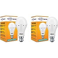 wipro B22 9-Watts Inverter Emergency LED Bulb (White, Pack of 2)