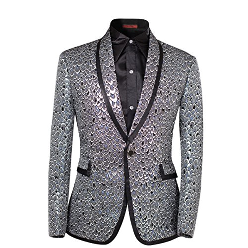 Cloudstyle Herren 2 stück anzug einreiher one-button schalkragen tuxedo pants set Silver Medium