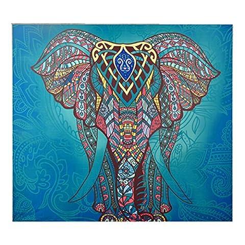 Dremisland Mandala Elefanten Blumen Tapisserie Hippie Mandala Zigeuner Böhmische Indische Traditionelle Wand Hängende Blatt Vorhang Wand Dekor Tisch Couch Abdeckung Picknick Decke Strand Wurf (L/200*150cm, Grün Elefant)