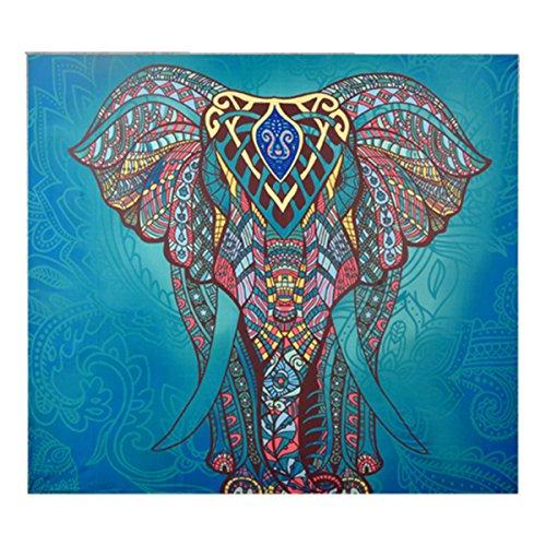 lefanten Blumen Tapisserie Hippie Mandala Zigeuner Böhmische Indische Traditionelle Wand Hängende Blatt Vorhang Wand Dekor Tisch Couch Abdeckung Picknick Decke Strand Wurf (L/200*150cm, Grün Elefant) (Abdeckungen Und Vorhänge)