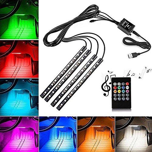 Preisvergleich Produktbild Auto LED Lichtleiste, teepao RGB 48-LED Auto Innenleuchten USB-Anschluss/Zigarettenanzünder Kabellose Fernbedienung Multicolor Musik Atmosphäre Deko 1Beleuchtung mit Sound Active für Auto, Party und Home