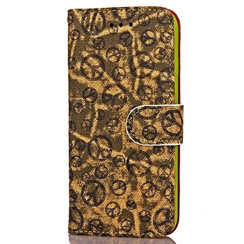iPhone Case Cover Weiche TPU Abdeckung Handschlaufe Etui Farbdruck Malerei PU-Leder-Kasten-Mappen-Standplatz-Fall Multi-Mischfarben-Kasten für Apple iPhone 7 ( Color : Purple , Size : IPhone 7 ) Yellow