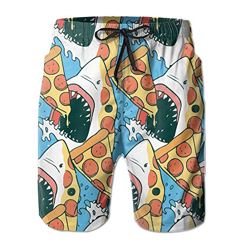 Paint0 Men's Swim Trunks Pizza Shark Pouch Casual Beach Board Shorts Small -