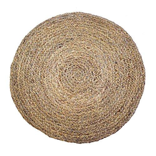 studio TR | Wasserhyazinthe Teppich rund geflochten aus Naturfaser (Größe M: Ø 100 cm) runder Teppich für Wohnzimmer, Kinderzimmer, Schalfzimmer Badezimmer - fairtrade, nachhaltig, handgemacht, ungefärbt, lebensmittelecht, plastikfrei, umweltfreundlich und - Natur-badezimmer-teppich