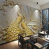 Weaeo 3D Dreidimensionale Relief Gold Pfau Hintergrund Wandmalerei Benutzerdefinierte Großes Wandbild Tapete Grün 120 X 100 Cm