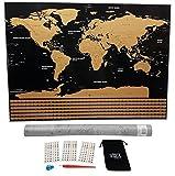 WIDETA Weltkarte zum Rubbeln mit Länderflaggen/XXL Rubbelposter (82 x 60 cm) mit Rubbelchip, Rubbelstift und Sticker/in Gold und schwarz