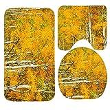 Herbst Gelb Bäume Badteppich-Set, 3-teiliges Badezimmer Matten Set rutschfeste Badezimmer Teppiche/Contour Matte/WC Bezug
