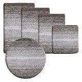 Badematte Ombre braun   Hochflor   zum Set kombinierbar   5 verschiedene Größen (60x100cm)