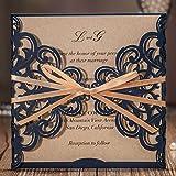 wishmade invitaciones de boda tarjetas cortadas a láser, 50x rústico azul marino azul invitaciones cuadrado con funda de encaje lazo para novia compromiso bebé ducha cumpleaños quinceañera cw6175b