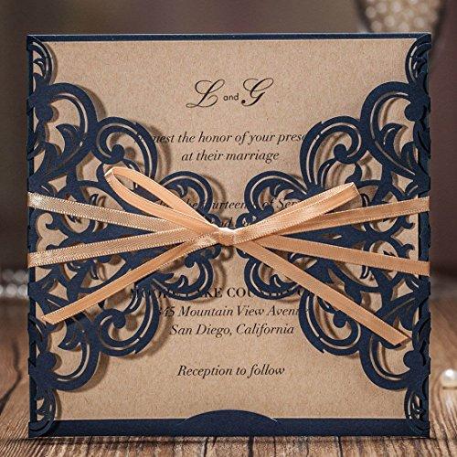 WISHMADE 50X Einladungskarten Für Hochzeit Geburtstag Taufe Party Graduierung Quinceanera Navy Blau Borte Lasercut Mit Schleife Kraftpapier Blanko Set 50 Stücke inkl Umschläge CW6175B